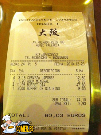 restaurantes japoneses que ofrecen buffet a la carta