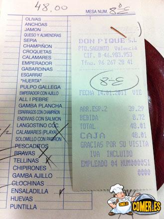 cuentas restaurantes de sagunto